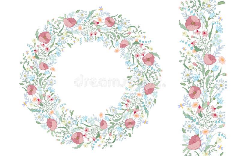 Άνευ ραφής βούρτσα σχεδίων με τα τυποποιημένα φωτεινά θερινά λουλούδια Ατελείωτη floral σύσταση σχεδίων χεριών διανυσματική απεικόνιση