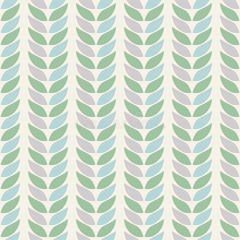 Άνευ ραφής γεωμετρικά σχέδια υποβάθρου των φύλλων στα χρώματα κρητιδογραφιών σε ένα μπεζ υπόβαθρο απεικόνιση αποθεμάτων