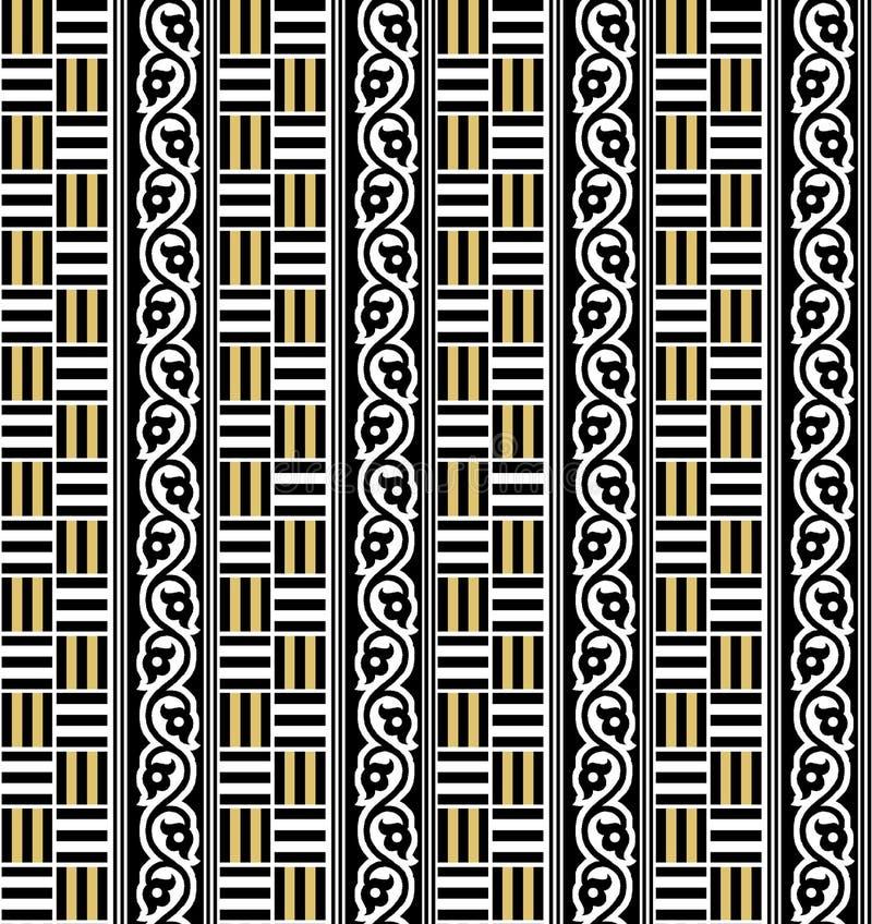 Άνευ ραφής γεωμετρικό μαύρο και χρυσό σχέδιο ελεύθερη απεικόνιση δικαιώματος