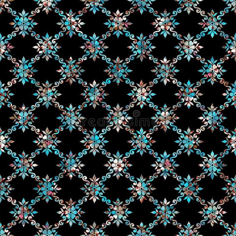 Άνευ ραφής γεωμετρικό μαύρο υπόβαθρο με ζωηρόχρωμο διακοσμητικό ελεύθερη απεικόνιση δικαιώματος