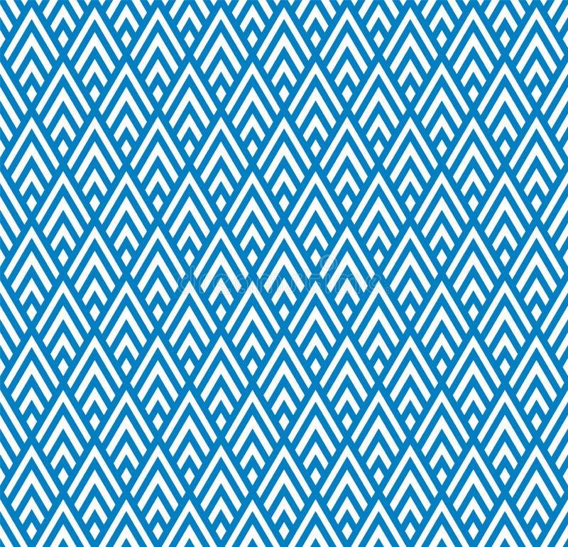 Άνευ ραφής γεωμετρικό μπλε και άσπρο ριγωτό υπόβαθρο σχεδίων Rhombuses απεικόνιση αποθεμάτων