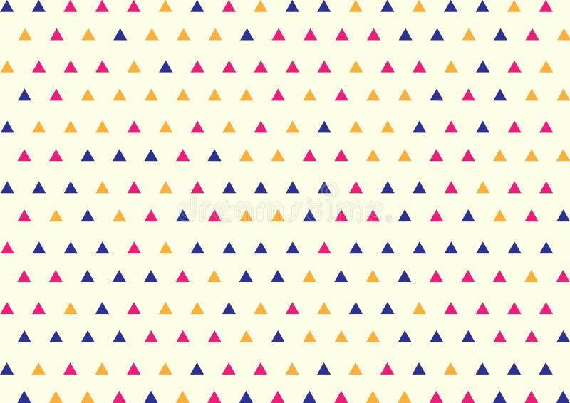 Άνευ ραφής γεωμετρικό μπλε, ρόδινο και κίτρινο σχέδιο τριγώνων στο φωτεινό κίτρινο υπόβαθρο στοκ εικόνα με δικαίωμα ελεύθερης χρήσης