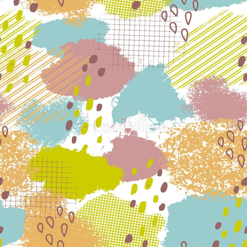 Άνευ ραφής γεωμετρικό σχέδιο με τα αφηρημένα κτυπήματα βουρτσών ελεύθερη απεικόνιση δικαιώματος