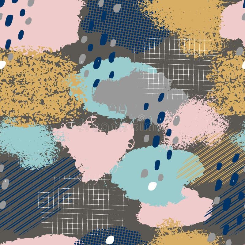 Άνευ ραφής γεωμετρικό σχέδιο με τα αφηρημένα κτυπήματα βουρτσών απεικόνιση αποθεμάτων