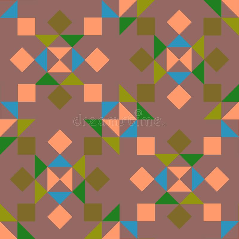 Άνευ ραφής γεωμετρικό σχέδιο με τα χρωματισμένα τρίγωνα και τα τετράγωνα σε ένα πορφυρό υπόβαθρο διανυσματική απεικόνιση