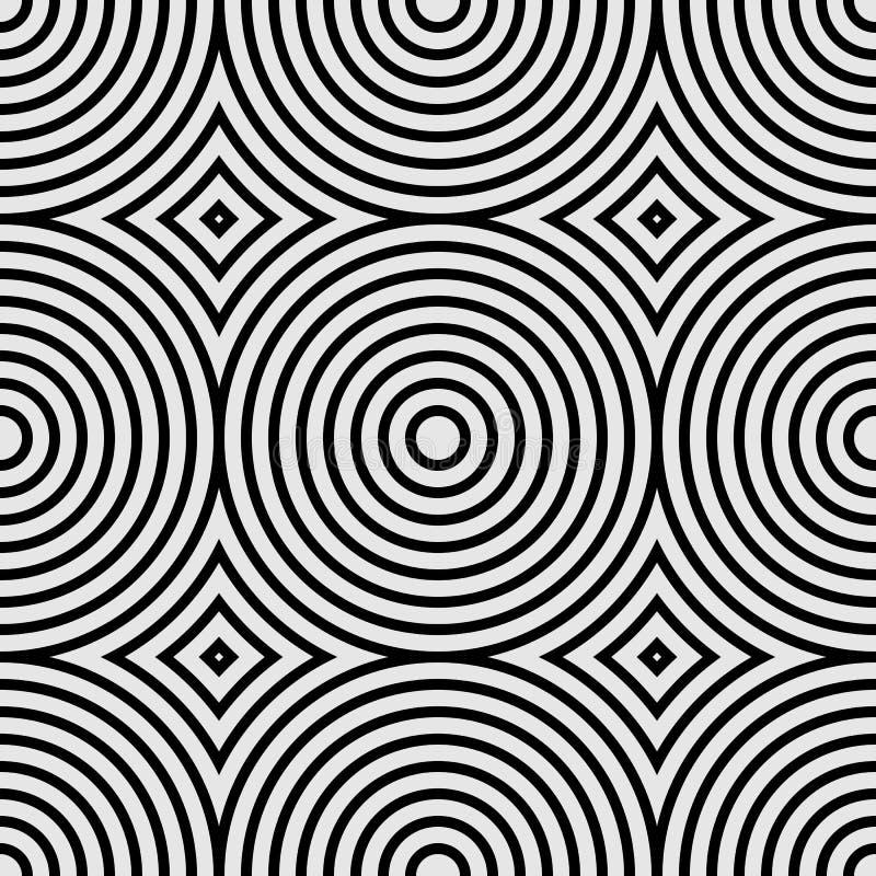 Άνευ ραφής γεωμετρικό σχέδιο με τους ομόκεντρους κύκλους και rhombuses Γραπτή διανυσματική απεικόνιση απεικόνιση αποθεμάτων