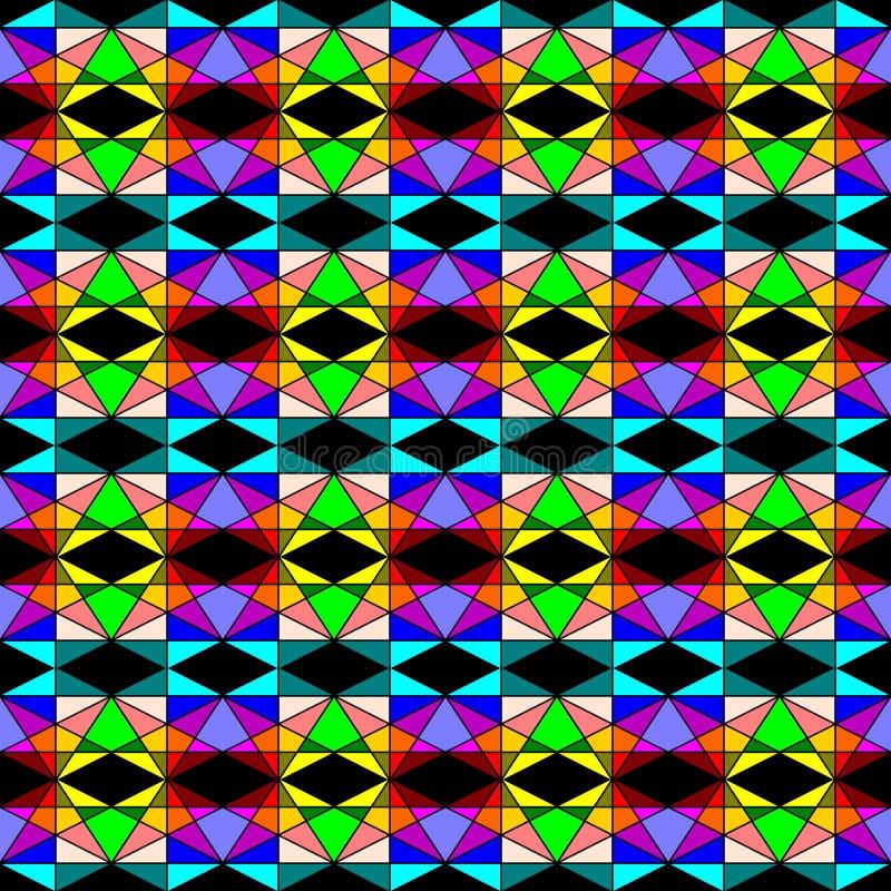 Άνευ ραφής γεωμετρικό σχέδιο του ζωηρόχρωμου μωσαϊκού, πολλά μεγέθη των μορφών τριγώνων στο μαύρο υπόβαθρο Επίπεδη διανυσματική α ελεύθερη απεικόνιση δικαιώματος