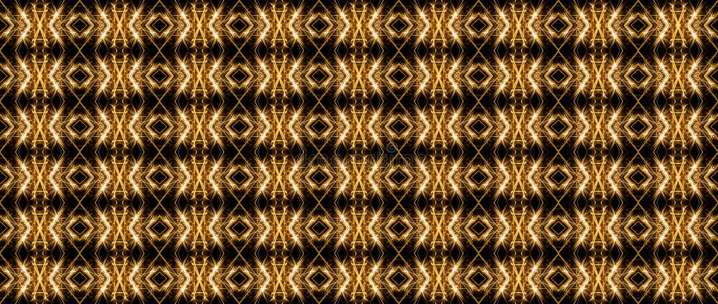 Άνευ ραφής γεωμετρικό σχέδιο των φωτεινών γραμμών, στα χρυσά χρώματα ο ελεύθερη απεικόνιση δικαιώματος