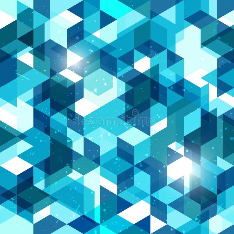 Άνευ ραφής γεωμετρικό υπόβαθρο στο μπλε Αφηρημένο διανυσματικό πρότυπο διανυσματική απεικόνιση