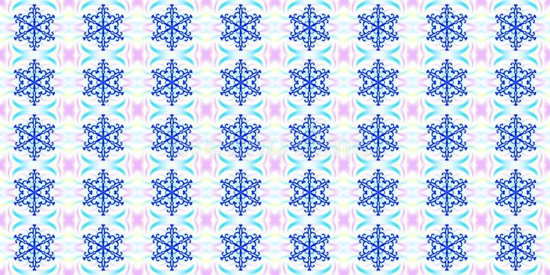 Άνευ ραφής γεωμετρικό χειμερινό σχέδιο με μπλε snowflakes και το απόσπασμα διανυσματική απεικόνιση