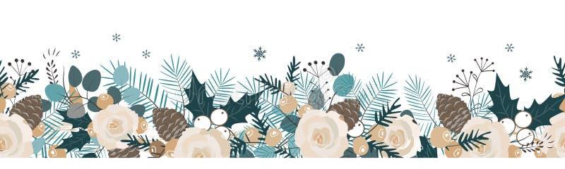 Άνευ ραφής γιρλάντα Χριστουγέννων Διανυσματική συρμένη χέρι απεικόνιση διανυσματική απεικόνιση