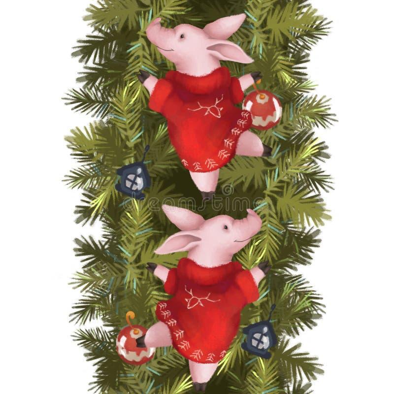 Άνευ ραφής γιρλάντα Χριστουγέννων Χοίροι σε ένα κόκκινο πουλόβερ σε κομψά σύνορα η ανασκόπηση απομόνωσε το λευκό νέο έτος διανυσματική απεικόνιση