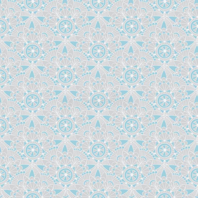Άνευ ραφής γκρίζος-μπλε εκλεκτής ποιότητας σχέδιο κρητιδογραφιών με τα αφηρημένα λουλούδια, διάνυσμα απεικόνιση αποθεμάτων