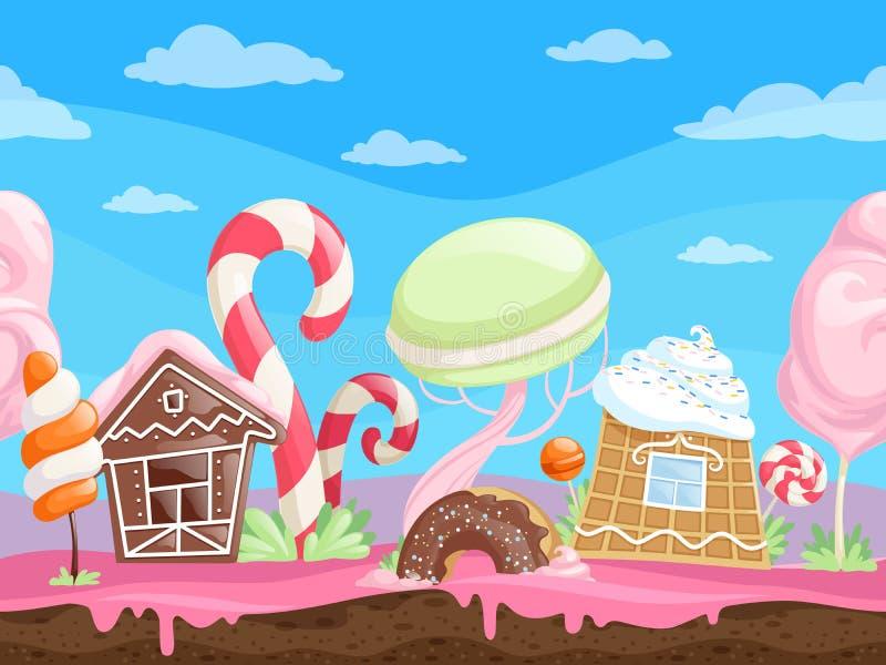Άνευ ραφής γλυκό τοπίο παιχνιδιών Εύγευστα μπισκότα σοκολάτας καραμέλας ζάχαρης καραμελών επιδορπίων υποβάθρου φαντασίας lollipop ελεύθερη απεικόνιση δικαιώματος
