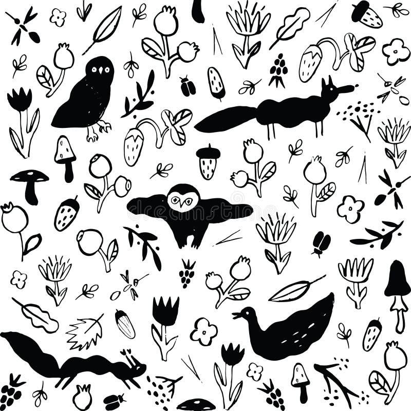 Άνευ ραφής γραπτό σχέδιο με τα ζώα, τα λουλούδια, τα μούρα, τα μανιτάρια και τα έντομα ελεύθερη απεικόνιση δικαιώματος