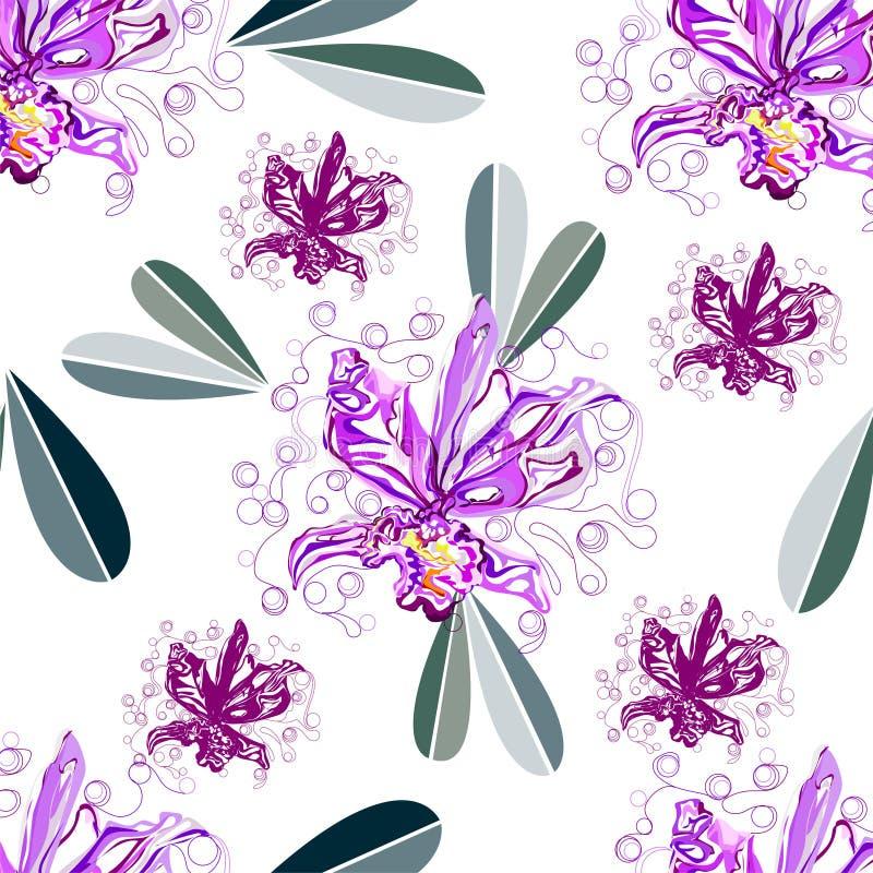 Άνευ ραφής γραφικός, λουλούδι ορχιδεών στο άσπρο υπόβαθρο, διανυσματική απεικόνιση απεικόνιση αποθεμάτων