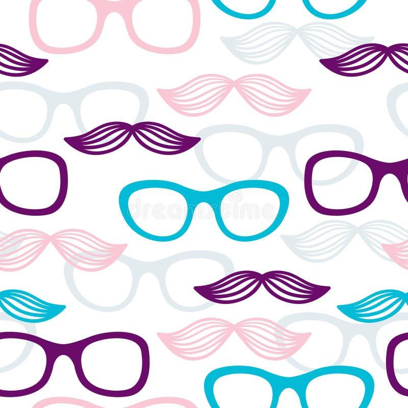 Άνευ ραφής γυαλιά και mustache πρότυπο διανυσματική απεικόνιση