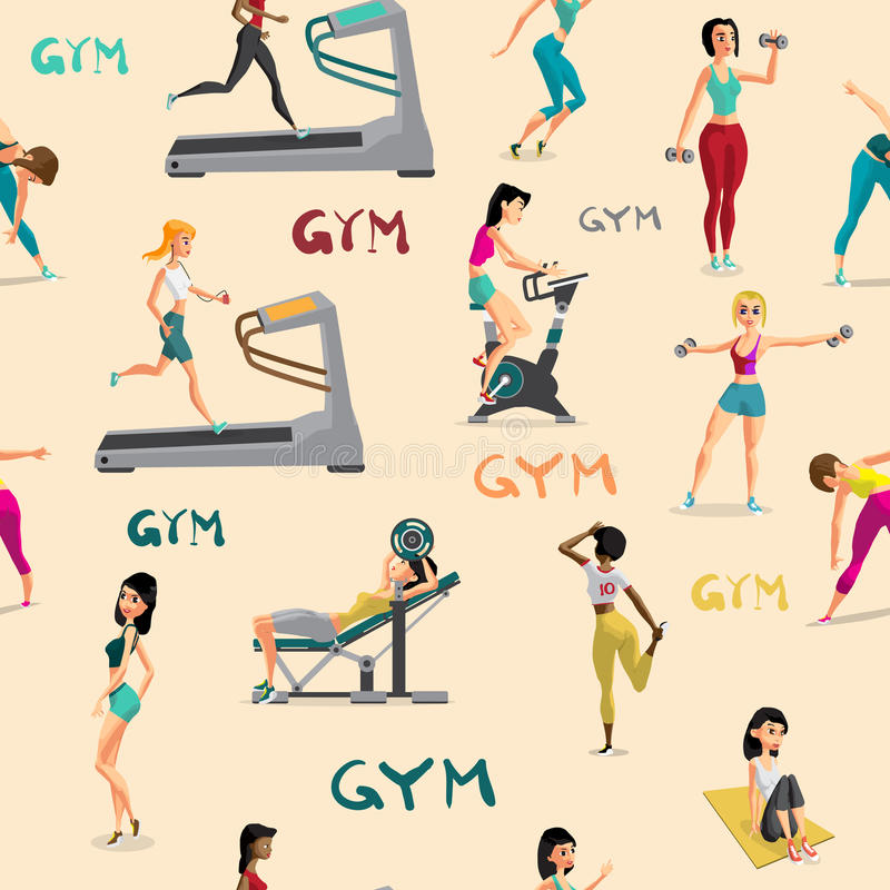 Άνευ ραφής γυναίκες σχεδίων που κάνουν τις ασκήσεις ικανότητας στη γυμναστική Carto απεικόνιση αποθεμάτων