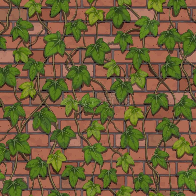 Άνευ ραφής διάνυσμα ενός τοίχου φιαγμένου κόκκινα τούβλα που στρίβονται από με τον κισσό διανυσματική απεικόνιση
