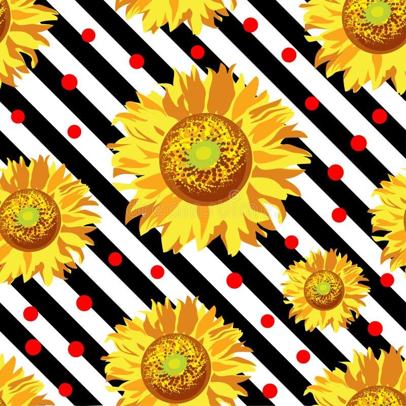 Άνευ ραφής διάνυσμα με τα λουλούδια ηλίανθων στα γραπτά λωρίδες ανασκόπησης ξηρός floral βρώμικος λεκιασμένος φυτό τρύγος εγγράφο διανυσματική απεικόνιση