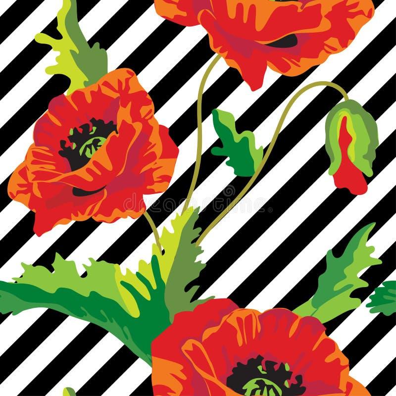 Άνευ ραφής διάνυσμα με τα λουλούδια παπαρουνών στα γραπτά λωρίδες ανασκόπησης ξηρός floral βρώμικος λεκιασμένος φυτό τρύγος εγγρά ελεύθερη απεικόνιση δικαιώματος