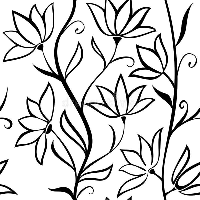άνευ ραφής διάνυσμα προτύπ&omeg Κυματιστοί μίσχοι με τα λουλούδια που απομονώνονται σε ένα άσπρο υπόβαθρο διανυσματική απεικόνιση
