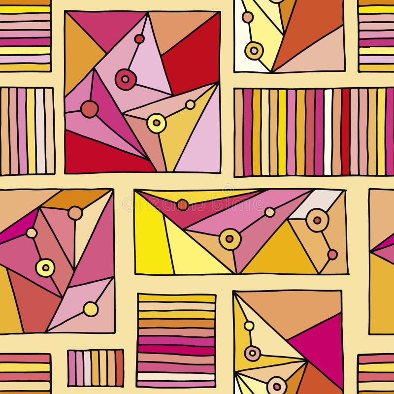 άνευ ραφής διάνυσμα προτύπ&omeg Κόκκινο γεωμετρικό συρμένο χέρι υπόβαθρο με τα ορθογώνια, τετράγωνα, τρίγωνα, σημεία Τυπωμένη ύλη διανυσματική απεικόνιση