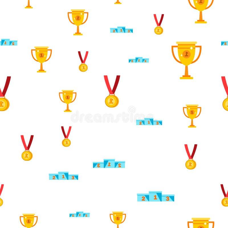 Άνευ ραφής διάνυσμα σχεδίων βραβείων Χρυσό βραβείο φλυτζανιών Σύμβολο νίκης πρόκληση Χαριτωμένη γραφική σύσταση υφαντικό σκηνικό απεικόνιση αποθεμάτων