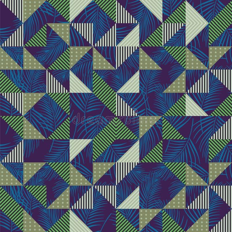 Άνευ ραφής διάνυσμα σχεδίων με γεωμετρικοί αφηρημένος μπλε τριγώνων και πράσινος στο υπόβαθρο φύλλων φοινικών απεικόνιση αποθεμάτων