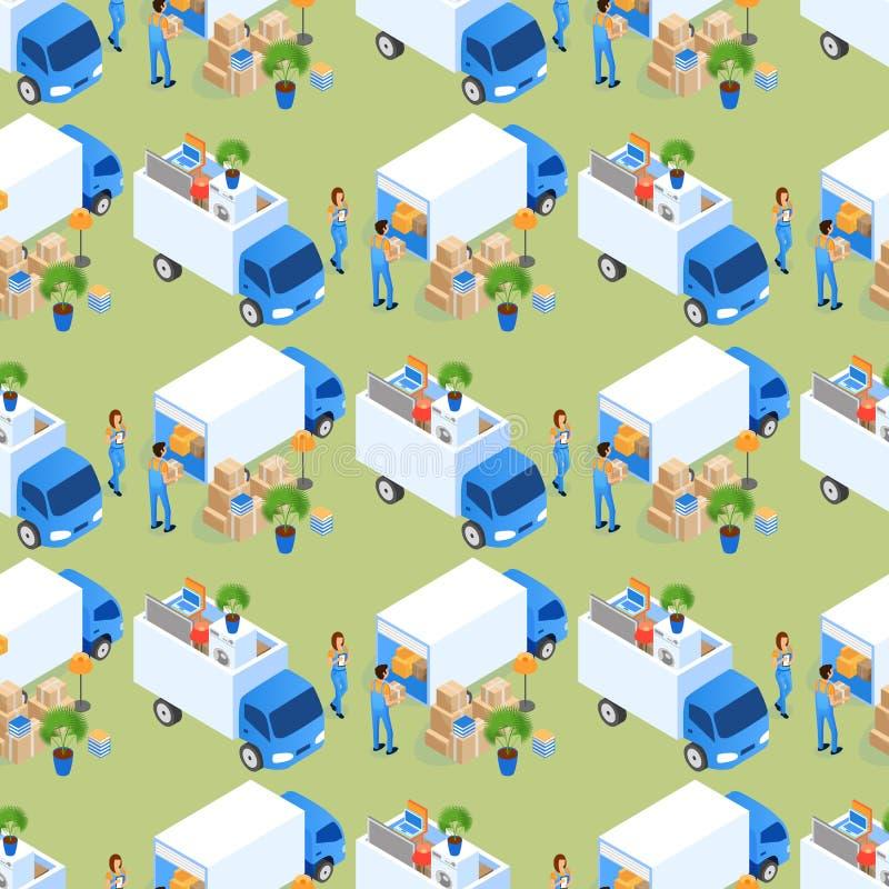 Άνευ ραφής διάνυσμα σχεδίων φορτηγών επίπλων φόρτωσης διανυσματική απεικόνιση