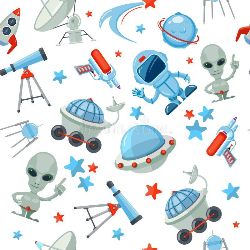 άνευ ραφής διάστημα προτύπω& Αλλοδαπό UFO σκάφος αστροναυτών απεικόνιση αποθεμάτων