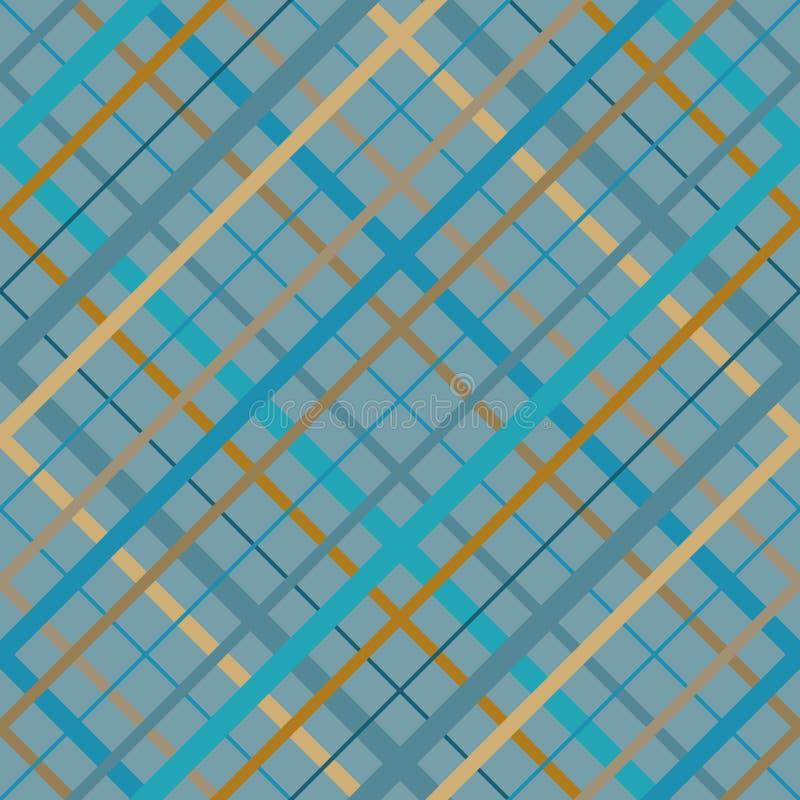 Άνευ ραφής διαγώνιο σχέδιο του Μάντρας γραμμών Διαγώνια άνευ ραφής σύσταση ως καρό ταρτάν στα διάφορα μπεζ μπλε χρώματα διανυσματική απεικόνιση