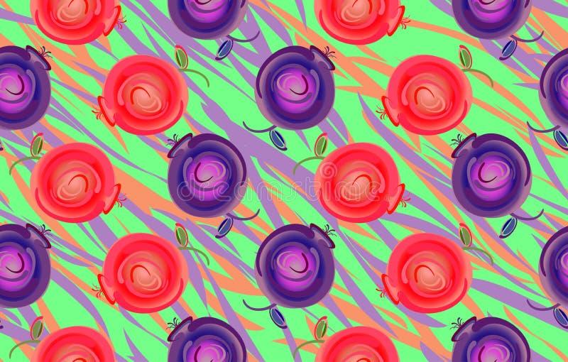 Άνευ ραφής διακοσμητικό σχέδιο με τα άγρια μούρα των βακκινίων και lingonberries στο υπόβαθρο των φύλλων ελεύθερη απεικόνιση δικαιώματος