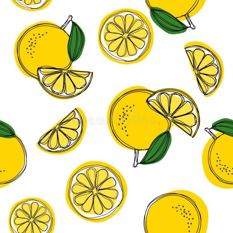 Άνευ ραφής διακοσμητικό υπόβαθρο με τα κίτρινα λεμόνια Το χέρι λεμονιών σύρει το σχέδιο επίσης corel σύρετε το διάνυσμα απεικόνισ απεικόνιση αποθεμάτων