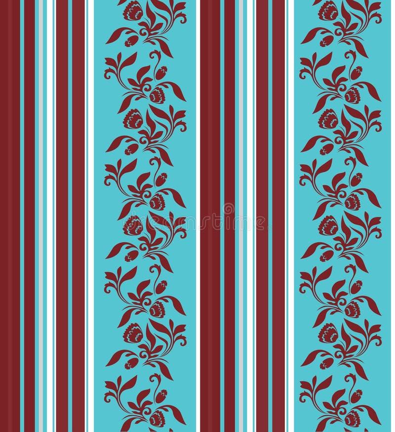 Άνευ ραφής διακόσμηση με τα κάθετα λωρίδες και το floral σχέδιο απεικόνιση αποθεμάτων
