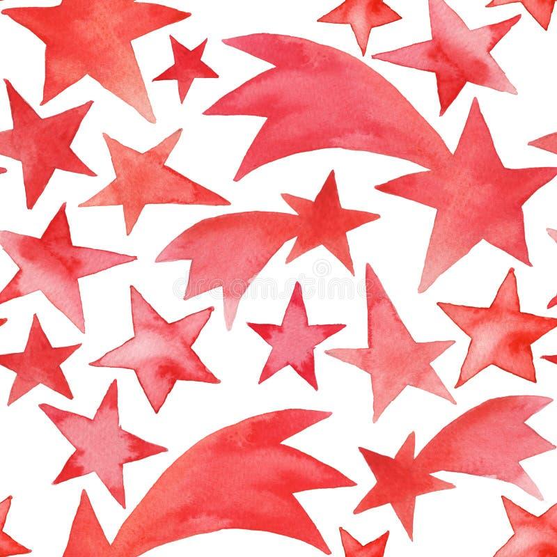 Άνευ ραφής διακόσμηση Χριστουγέννων με τα αστέρια watercolor στοκ εικόνα