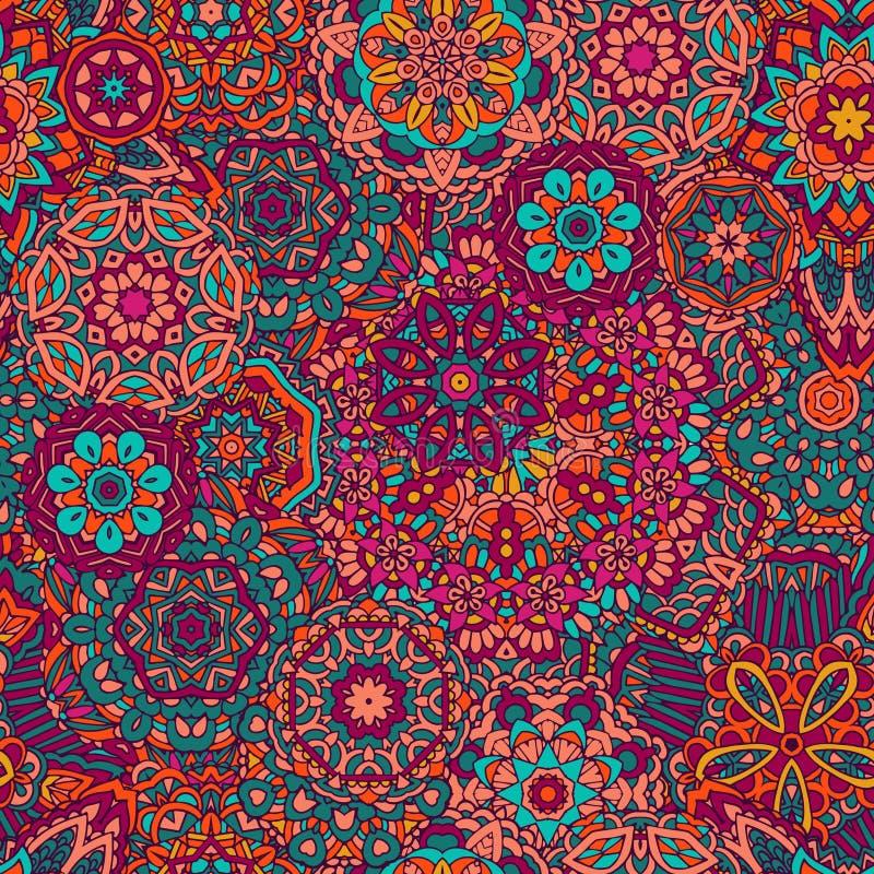 Άνευ ραφής διακόσμηση mandala σχεδίων διανυσματική απεικόνιση