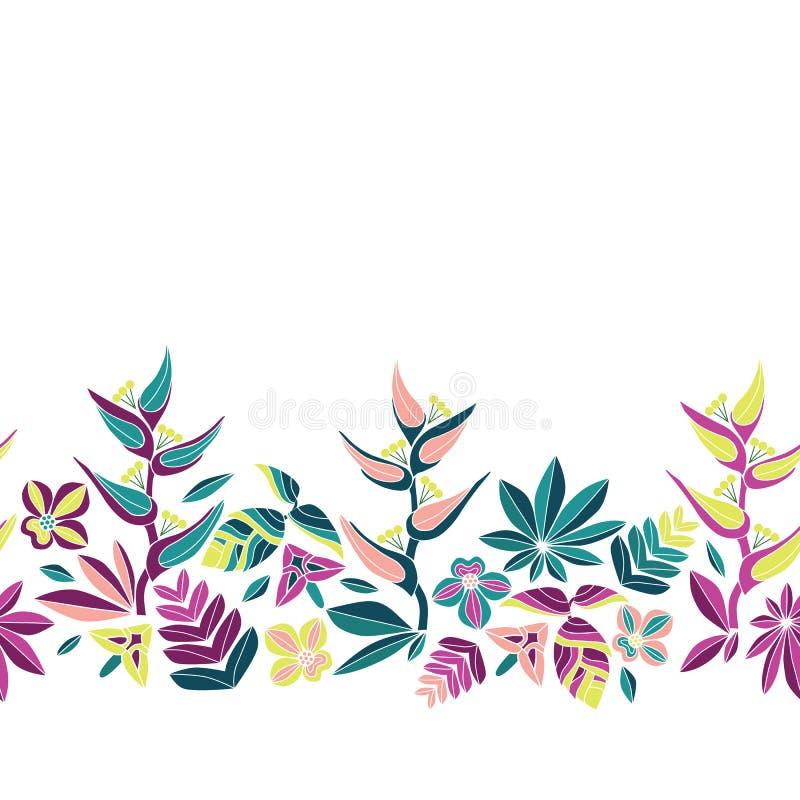 Άνευ ραφής διανυσματικά σύνορα κεντητικής με τα όμορφα τροπικά λουλούδια Φωτεινή διανυσματική λαϊκή floral διακόσμηση στο άσπρο υ ελεύθερη απεικόνιση δικαιώματος