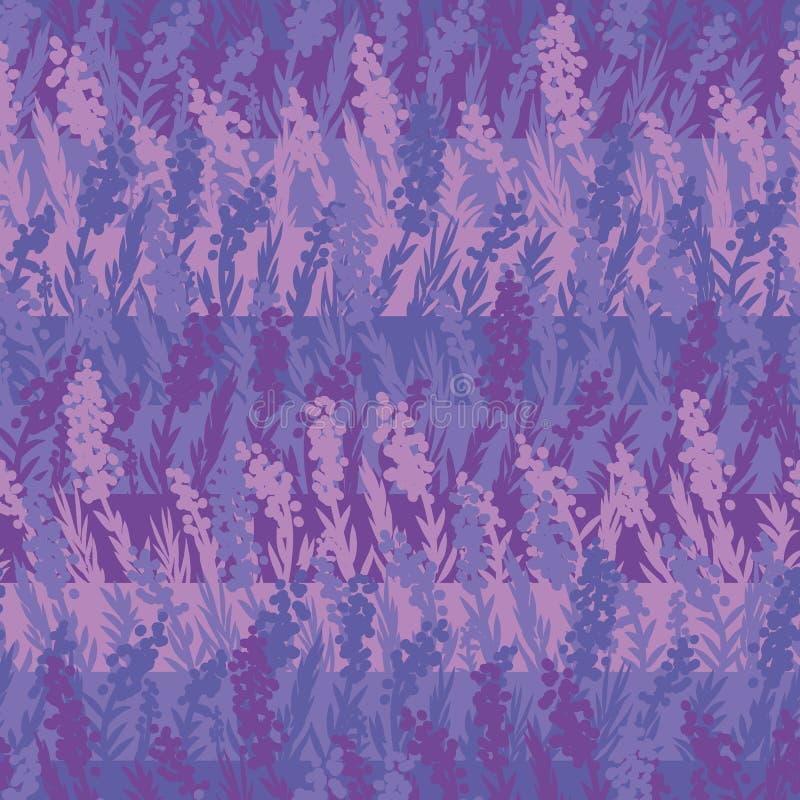 Άνευ ραφής διανυσματικά stipes lavender σχεδίων sith λουλούδια σε λίγες σκιές της βιολέτας διανυσματική απεικόνιση