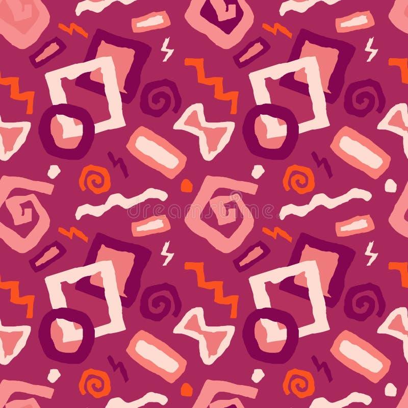 Άνευ ραφής διανυσματική απεικόνιση σχεδίων τέχνης doodle στο κόκκινο backgroun ελεύθερη απεικόνιση δικαιώματος
