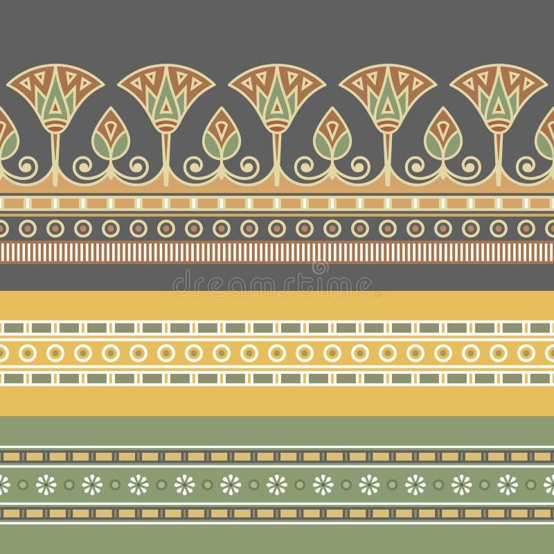 Άνευ ραφής διανυσματική απεικόνιση της αιγυπτιακής εθνικής διακόσμησης με ένα λουλούδι λωτού ελεύθερη απεικόνιση δικαιώματος