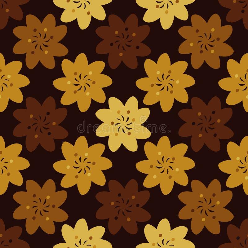 Άνευ ραφής διανυσματικό γεωμετρικό σχέδιο με τα λουλούδια στα σκουριασμένα κίτρινα φθινοπώρου, και το Browns απεικόνιση αποθεμάτων