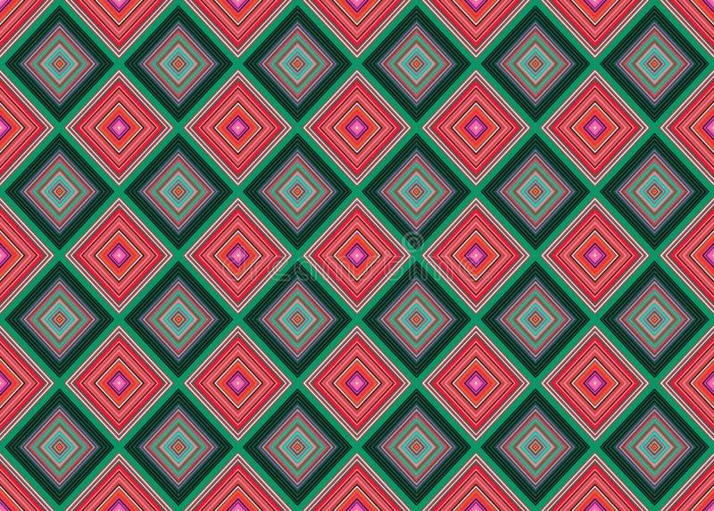 Άνευ ραφής διανυσματικό γεωμετρικό σχέδιο με το ρόμβο, τετράγωνα ατελείωτο υπόβαθρο με τους συρμένους κατασκευασμένους γεωμετρικο διανυσματική απεικόνιση