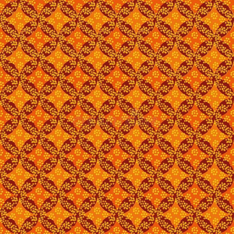 Άνευ ραφής διανυσματικό γεωμετρικό floral σχέδιο στο ζωηρό πορτοκαλί χρώμα διανυσματική απεικόνιση