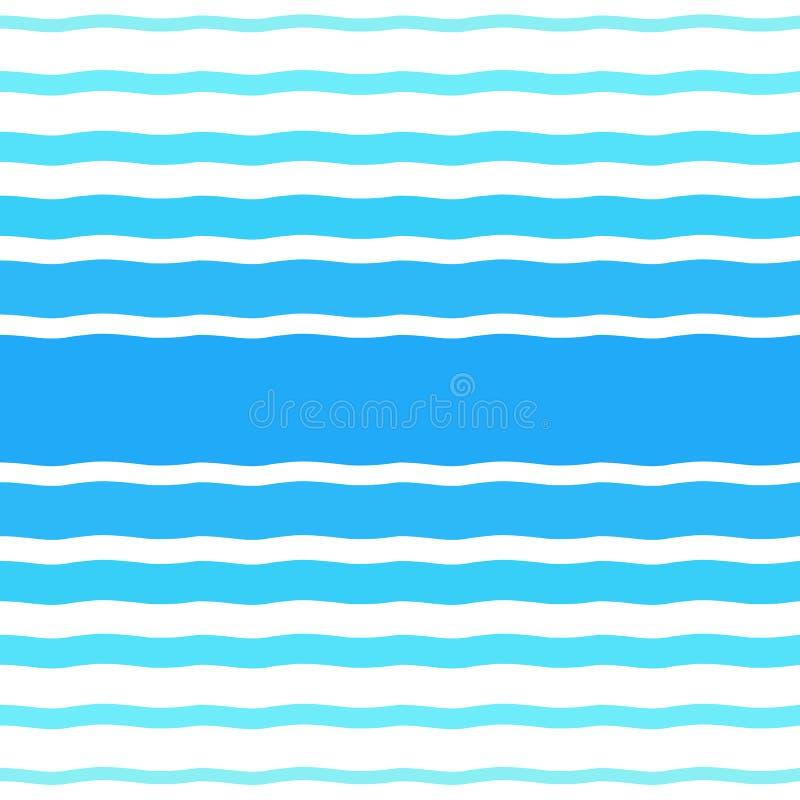 Άνευ ραφής διανυσματικό ημίτονο σχέδιο με τα μπλε κύματα κλίσης διανυσματική απεικόνιση