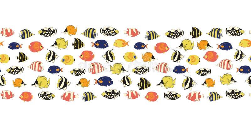 Άνευ ραφής διανυσματικό κεραμίδι ψαριών σκοπέλων συνόρων τροπικό Ζωηρόχρωμο ντεκόρ ψαριών Butterflyfish, κλόουν Triggerfish, Anem διανυσματική απεικόνιση