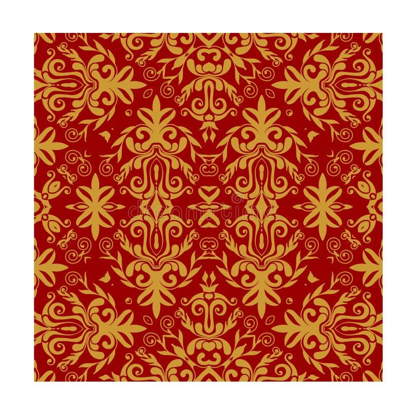Άνευ ραφής διανυσματικό κόκκινο χρυσό μπατίκ υποβάθρου μπατίκ για την υφαντική τυπωμένη ύλη μόδας στοκ φωτογραφίες με δικαίωμα ελεύθερης χρήσης