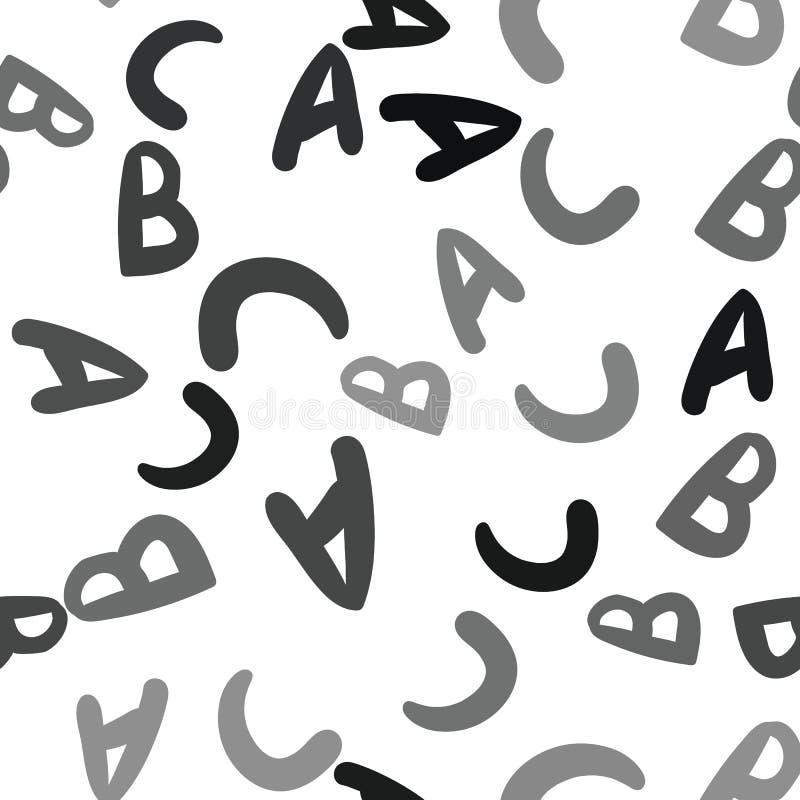 Άνευ ραφής διανυσματικό σχέδιο - διαφορετικά γράμματα ABC Ζωηρόχρωμο σχολικό σχέδιο με τους χαρακτήρες Α, Β, Γ πηγών για τα παιδι ελεύθερη απεικόνιση δικαιώματος