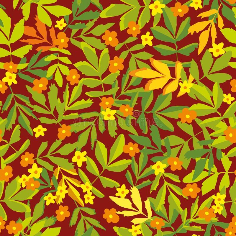 Άνευ ραφής διανυσματικό σχέδιο με τα απλουστευμένα πορτοκαλιά και κίτρινα λουλούδια και τα πράσινα και κίτρινα φύλλα απεικόνιση αποθεμάτων