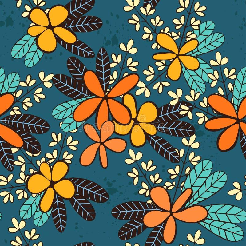 Άνευ ραφής διανυσματικό σχέδιο με τα διακοσμητικά λουλούδια και τα φύλλα διανυσματική απεικόνιση